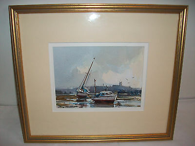 original Ray Balkwill Sunrise Over Exmouth framed watercolour painting signed
