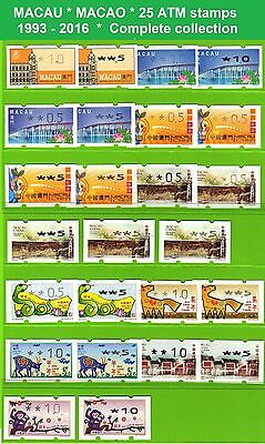 China Macau * 1993-2016 * 25 ATM stamps * Complete collection incl. Zodiac *