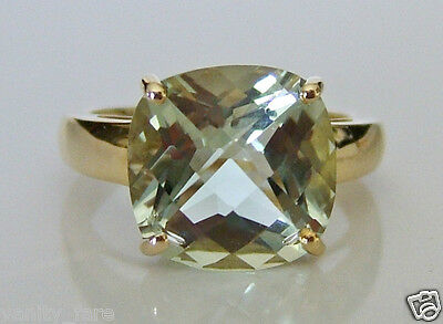 Beautiful 9ct Gold Green Amethyst Ring Size L