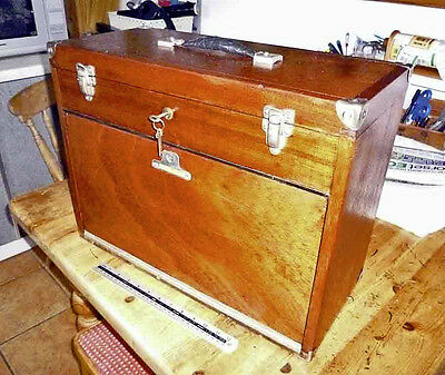 Vintage Mahogany NESLEIN Engineer's Large Tool Cabinet with all Keys Old Tool