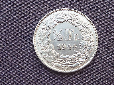 Switzerland 1944 Silver 1/2 Franc Very High Grade
