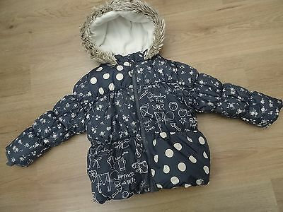 Girls Next Age 2-3 Winter Coat With Faux Fur Hood Happy Spotty Print