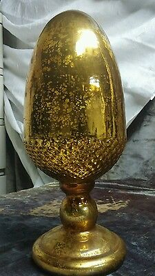 Vintage Gold Mercury Glass Acorn Finial ~ 13 Inches