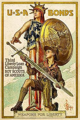"""1918 """"Boys Scouts"""" Be Prepared Sword Vintage Style Liberty War Poster - 24x36"""