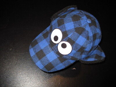 COOKIE MONSTER Plaid hunter's style cap Sesame Street w/ ear-flaps Adult L/XL