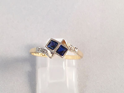 LOVELY 18ct Yellow Gold and Platinum Art Deco Sapphire & Diamond Ring SIZE N