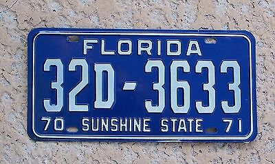 1970 1971 Florida License Plate 1970-71 tag 32D-3633