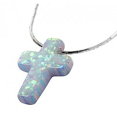 Cross Pendant Charm Necklace Silver Chain Christmas Gift Created Opal Jewellery
