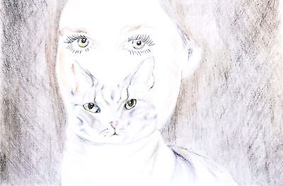 Cat lady inspired  drawing colored pencil original art signed