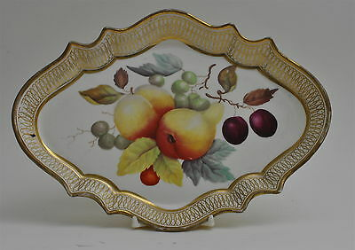 DAVENPORT EARLY 19th CENTURY THOMAS STEELE HAND-PAINTED FRUIT SCALLOPED DISH