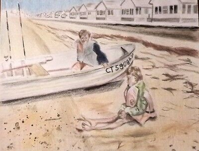 Seascape with children drawing colored pencil paper original art signed nautical