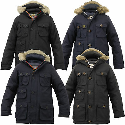 5321d477d BOYS SCHOOL JACKET Kid Parka Coat Brave Soul Padded Sherpa Hood Fur ...