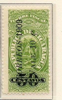 Nicaragua 1909 Early Issue Fine Mint Hinged 10c. Surcharged 110915