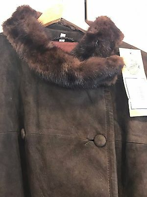 Vintage long suede coat - brown with fur collar Size 12/14 - Excellent Condition