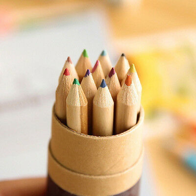 GirlPainting Stationary 12Pcs different colors drawing pencil Writing Wooden