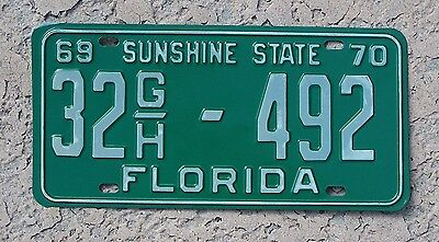 1969 1970 Florida License Plate 1969-70 truck tag