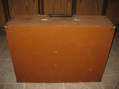 mystery vintage/antique double hinged covered wooden traveling/display case?