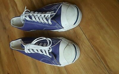for sale a pair of used MENS JACK PURCELL  PURPLE LEATHER CONVERSE MADE IN USA 9