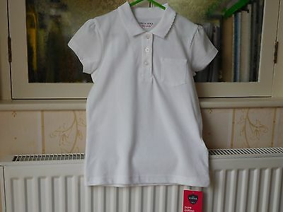 Marks And Spencer Girls White Short Sleeved School Shirt - Age 5-6 Years - Bnwt