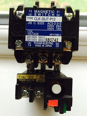 Togami contactor magnetic switch 26amp 220-240 volt coil