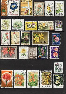 THEMATICS 90 Different Flowers on Stamps.