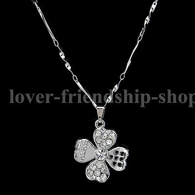 Trendy 925 Sterling Silver Chain Crystal Clover Pendants Necklace Jewelry Gift