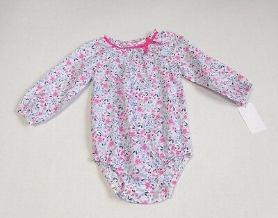 NWT Girls Oshkosh Pink Blue Floral Long Sleeve Bodysuit Shirt sz 18 Months