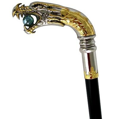 Medieval Silver Plated Dragon Head Cane Walking Stick Chrome Handle Metal Shaft