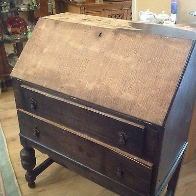 Vintage Oak Veneer Bureau  with Two Drawers