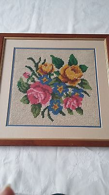 Vintage style framed tapestry with roses and oak frame pink yellow blue