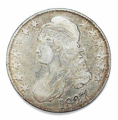 1827 Silver 50c Capped Bust Half $ Dollar VF Details Cleaned O-112 R-3 #93140 R