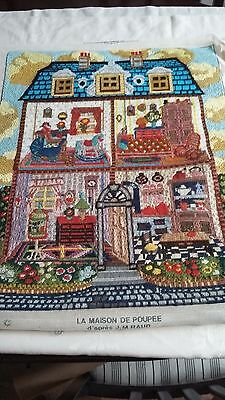 """Tapestry of doll's house La Maison de Poupee 25"""" h 20"""" wide, picture or rug"""