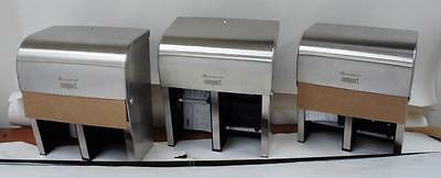 3 New Georgia Pacific Compact Quad Stainless Steel Tissue Dispensers M242