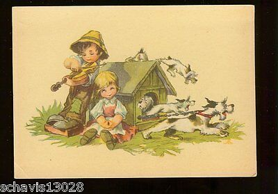 Fiddle Playing Children Farm Tattered Clothes Dogs Doghouse Vintage Postcard 132