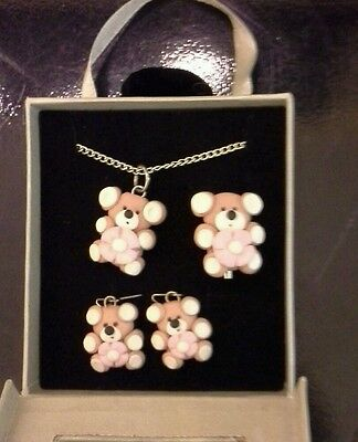 Fimo teddy flower jewellery set - necklace, earrings, and brooch brand new boxed