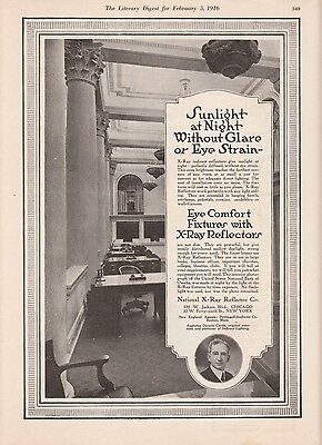 1916 National X-Ray Reflector Co Chicago IL Ad: Sunlight at Night Without Glare
