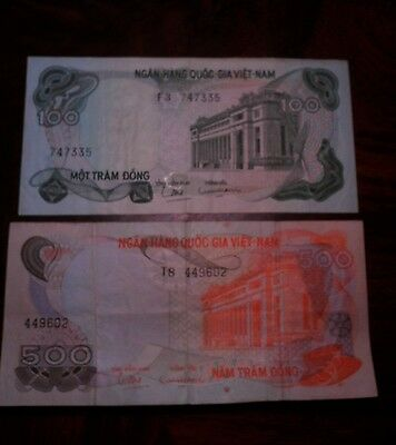 Vietnam 1970  100 Dong And 500 Dong Banknotes  Very Good Shape