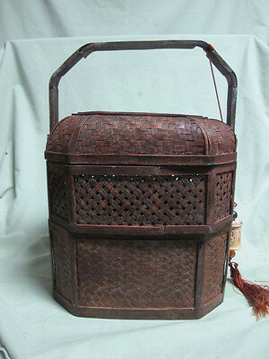 Antique 3 Tier Chinese Wedding Basket Lunch Pail/Box