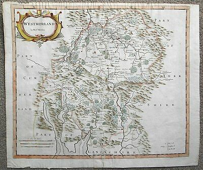 c1695 or later MAP of CUMBRIA Part of Lake District WESTMORLAND Hand Coloured
