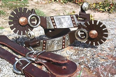 Cowboy Western Men's Big Rowel spurs WITH leather straps