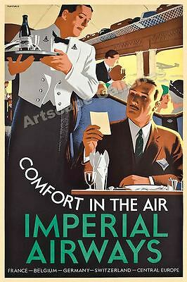 1930s Comfort In The Air - Imperial Airways Vintage Style Travel Poster - 24x36