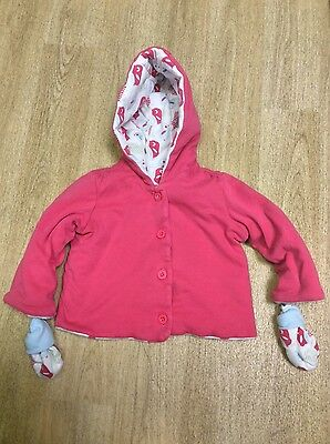 Baby girl pink hooded jacket with mitts in size 6-9 months from M&S