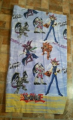 VTG Yu-Gi-Oh! Flat Twin Bed Sheet Fabric Anime Let's Duel It's Your Move Craft