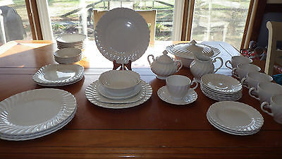 White Ironstone Dinnerware in Regency Made in England Johnson Brothers 1960 47p