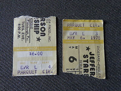 2 Concert ticket stubs May 6 1975 JEFFERSON STARSHIP Syria Mosque Pittsburgh PA