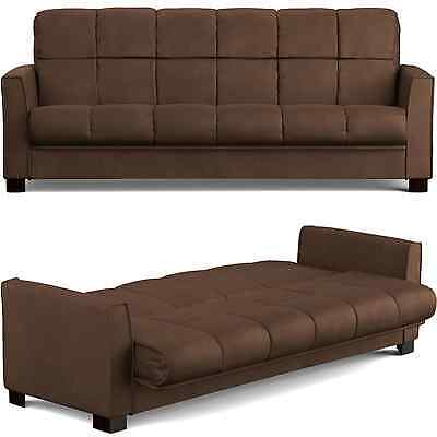Convertible Brown Sofa Bed Futon Lounger Loveseat Couch Polyester Microfiber New