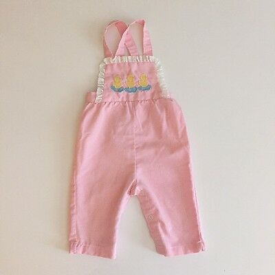 Vintage Pink Stripe Chick Overalls / Baby Girl Toddler Easter Outfit 12m -18m