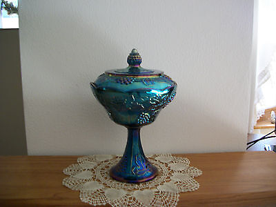Vintage Indiana Glass Blue Carnival Large Compote W/ Cover
