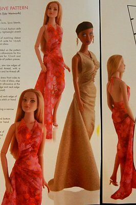 """UNCUT Halter Evening Gown Pattern  for 12"""" Fashion Royalty or 16"""" Tyler Dolls"""