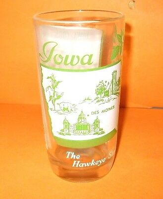 """Vintage Souvenir """"Sing A Song"""" State Glass Tumbler Iowa The Hawkeye State Green"""